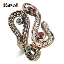 Kinel Unique Antique Rings For Women Vintage Look Crystal Rings Gold Color Fashion Engagement Jewelry Gift(China)