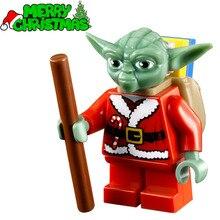 Single Sale Santa Yoda with Backpack Christmas STAR WARS TMNT SW358 Minifigures DIY Assemble Building Blocks Kids Xmas Toys Gift