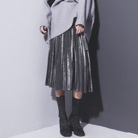 Women Metallic Silver Skirt Midi Skirt High Waist Metallic Pleated Skirt Party Club Ladies
