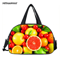 Waterproof Women Lady 3D Print Fruit Totes Bags Portable Shoes Pocket Sports Travel Yoga Gym Fitness