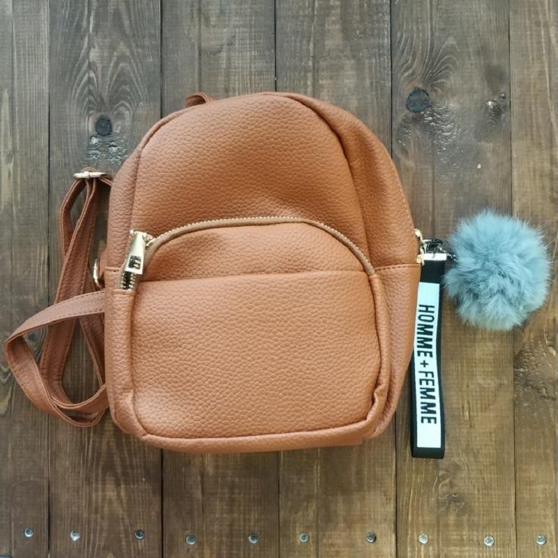 Женские мини-рюкзаки Miyahouse из мягкой искусственной кожи, студенческие пушистые школьные ранцы на плечо с подвеской-шариком, маленький дорожный ранец для женщин-5