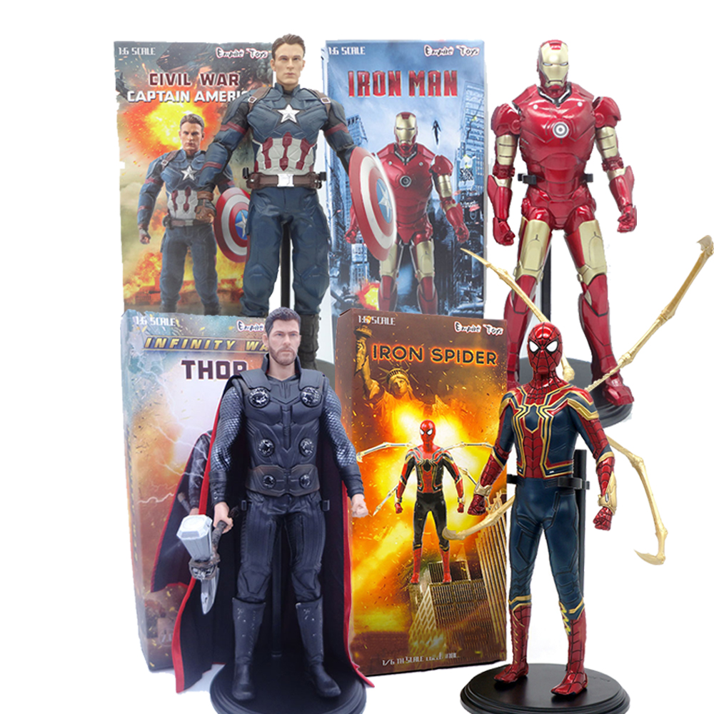 Captain America Civil War Captain America Iron Spider Man Spiderman Thor PVC Action Figure Collectible Model Toy