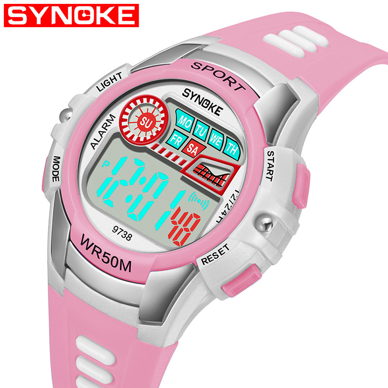 SYNOKE Children's Electronic Watch Back Light Alarm Clock Waterproof Multi Function Gift Kid's Watches Age Girl Top Band Strap