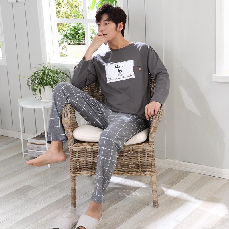 2019 Autumn Winter Cotton Pajama Set For Men Long Sleeve Cartoon Pyjama Casual Plaid Pants Homewear Male Loungewear Home Clothes