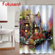 FOKUSENT High Quality Print Beautiful Seaside Town and Flowers Garden Polyester Fabric Bathroom Waterproof 3D Shower Curtains