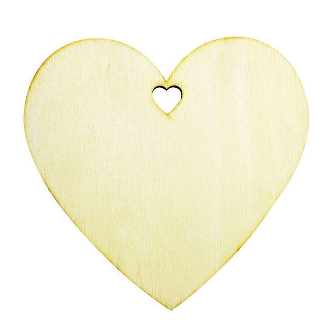 50pcs 100mm Blank Heart Wood Slices Discs for Art Crafts DIY ...
