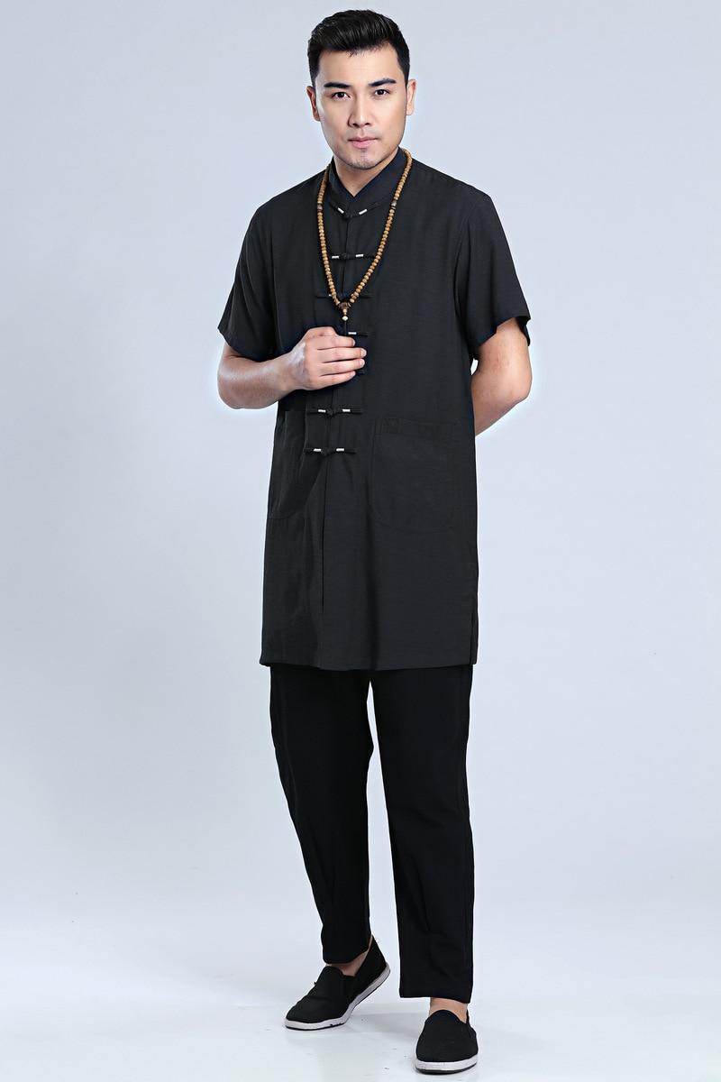 Купить с кэшбэком Chinese Traditional Summer T-shirt Men Kung Fu Party Cotton Tops Size M-3XL