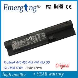 10.8 V 47WH Nouveau Original batterie d'ordinateur portable pour HP ProBook 440 450 445 470 455 G0 G1 FP06 FP09 H6L26AA H6L27AA