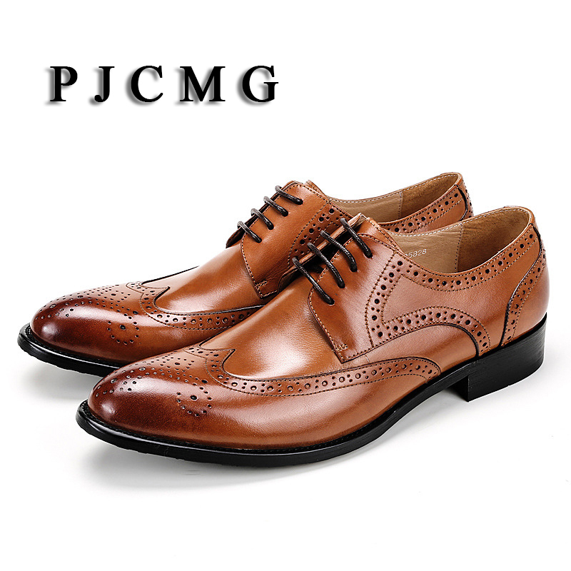 PJCMG New Breathable Black Carved Loafers Mens Dress Genuine Leather Lace-Up Pointed Toe Wedding Mens Office Business Shoes pjcmg fashion red black oxfords mens business lace up genuine leather pointed toe office dress formal mens wedding shoes
