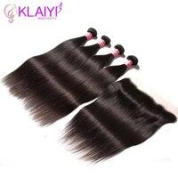 Klaiyi волосы уха до уха Синтетический Frontal шнурка волос Синтетическое закрытие волос с 4 Связки Малайзии прямые человека Синтетические волосы