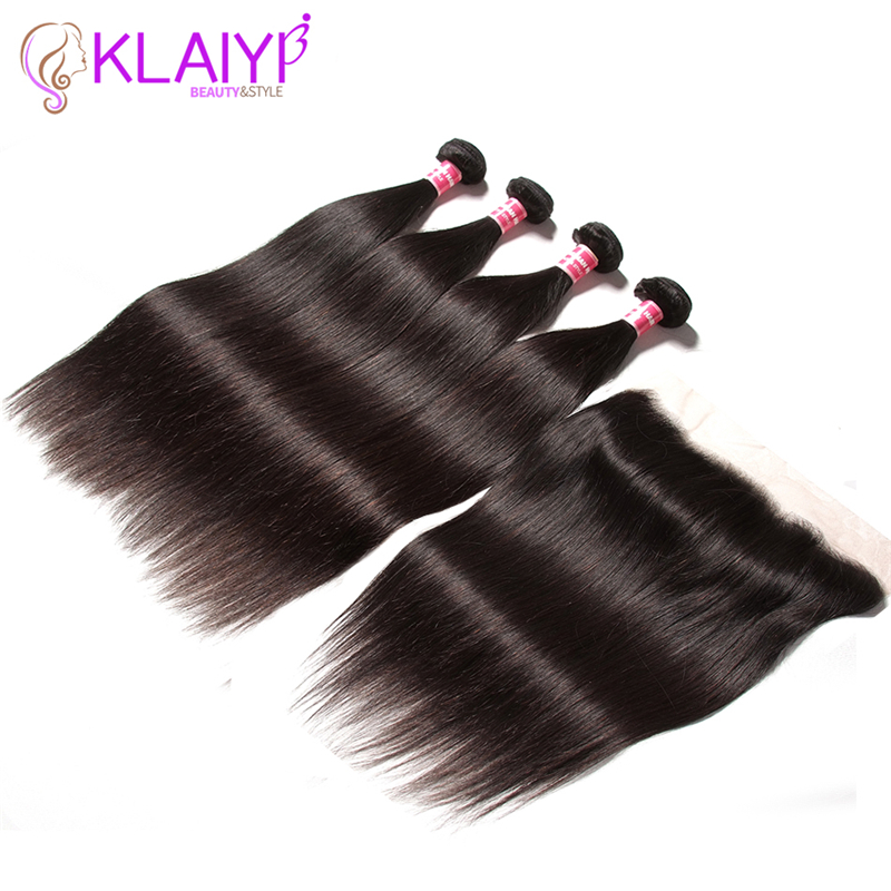Klaiyi Hair Ear To Ear Lace Frontal Closure With 4 Bundles Malaysian Straight Human Hair Weaves With Closures Remy Hair Frontal
