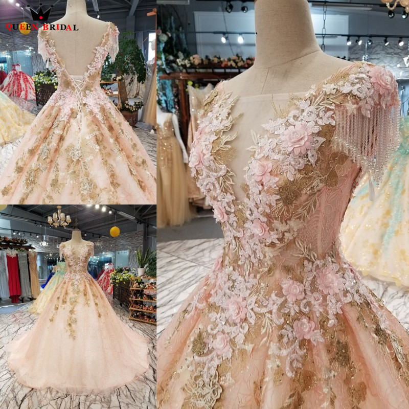 Ball Gown Open Back Fluffy Flowers Appliques Lace Luxury Evening ...