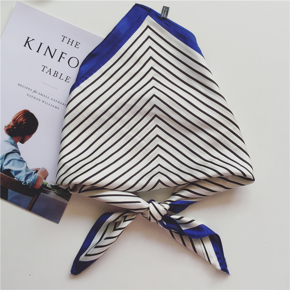 Fashion Women Square   Scarf   Satin   Wraps   Elegant Stripe Spring Summer Head Neck Hair Tie Band Neckerchief