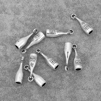 30PCS Antique Silver Red Wine Bottle Charms Pendants Fit Necklace Earrings Making Jewelry Findings 28x8mm