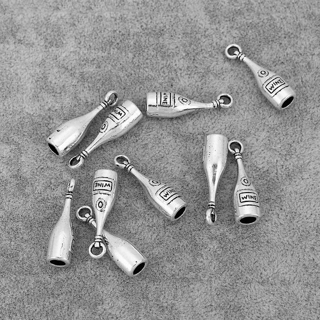 30PCS Antique Silver Red Wine Bottle Charms Pendants Fit Necklace Earrings Making Jewelry Findings 28x8mm 1