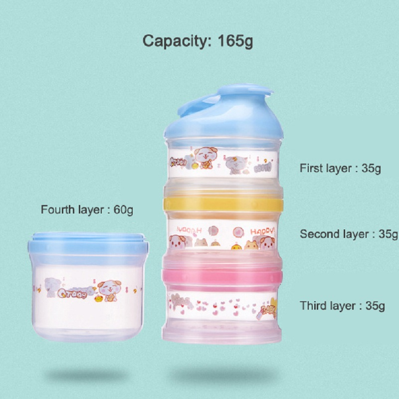 Купить с кэшбэком Cartoon Pattern Baby Formula Milk Storage Box Portable outing Food Snacks Container Four Layer big capacity