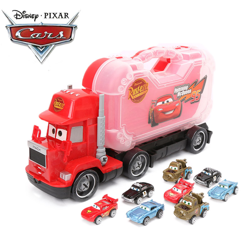 9pcs/set 5-37cm Disney Pixar Cars 3 Toys Lightning McQueen 95 with 8 Small Cars Jackson Storm McQueen Toys 1:55 Diecast Model