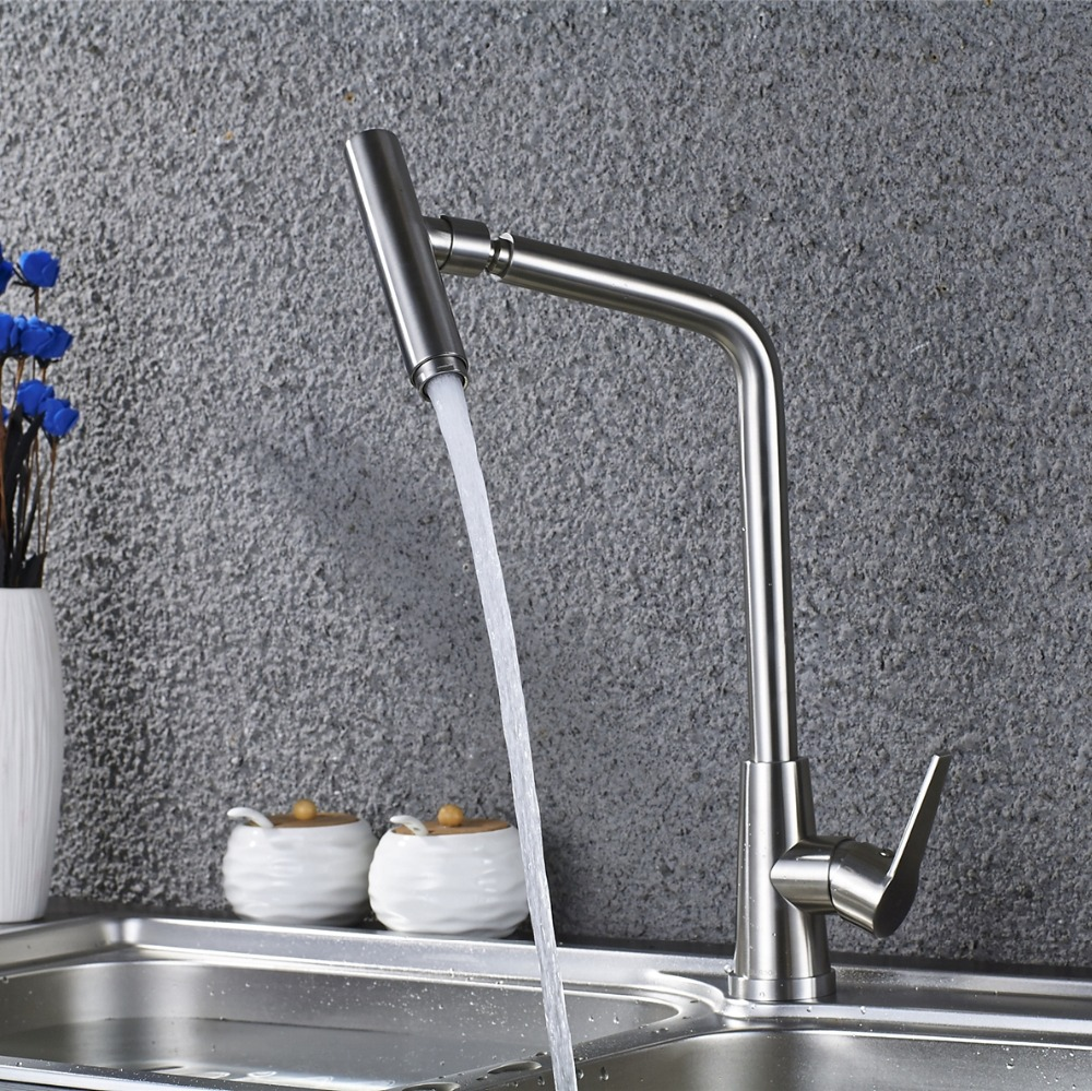 Stainless Steel Kitchen Sink Faucet 360 Degree Turn Spary Brush Nickel Kitchen Mixer Water Tap Hot and Cold ELS402 double bowl stainless steel kitchen sink with faucet tap evier fregadero de la cocina disipador lavello della cucina spoelbak ke