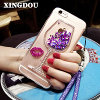 For Meizu M3 Note Phone Case 3D Liquid Quicksand Rhinestone Wine Glass Pattern Phone Case With