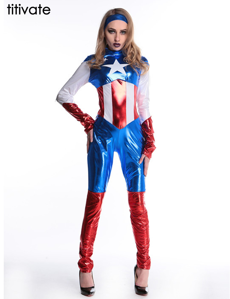 TITIVATE Sexy Captain America Costume Cosplay Jumpsuits Women Halloween Costume Carnival Adult Captain America Costume