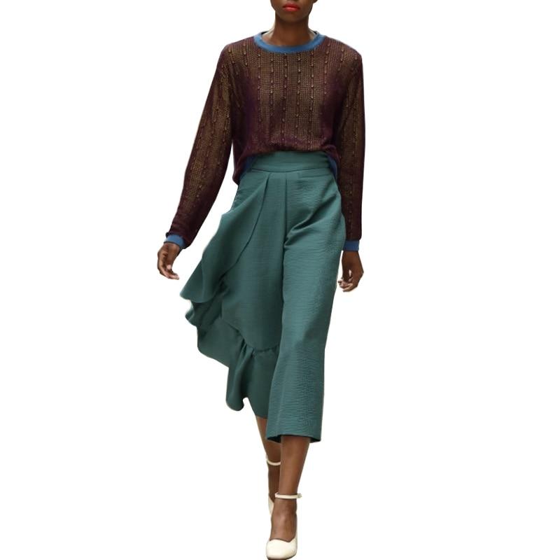 AEL Ruffles Asymmetric Wide Leg Pants Women High Waist Irregular Calf Length Casual Trouser Femme Fashion