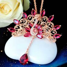 Women's wedding Peacock sweater chain necklace female long retro fashion all-match crystal pendant and women's accessories