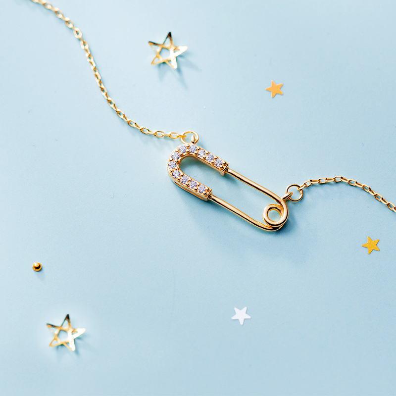 MloveAcc New Collection 925 Sterling Silver Cute Safety Pin Pendant Necklaces For Women Sterling Silver Jewelry