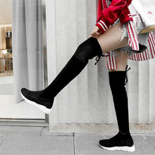 NAYIDUYUN   Thigh High Boots Women Velvet Wedges Platform Low Heel Over The Knee High Riding Booties Slim Leg Punk Long Sneakers nayiduyun thigh high boots women black leather over the knee booties med heel tall shaft punk sneakers chic riding greepers