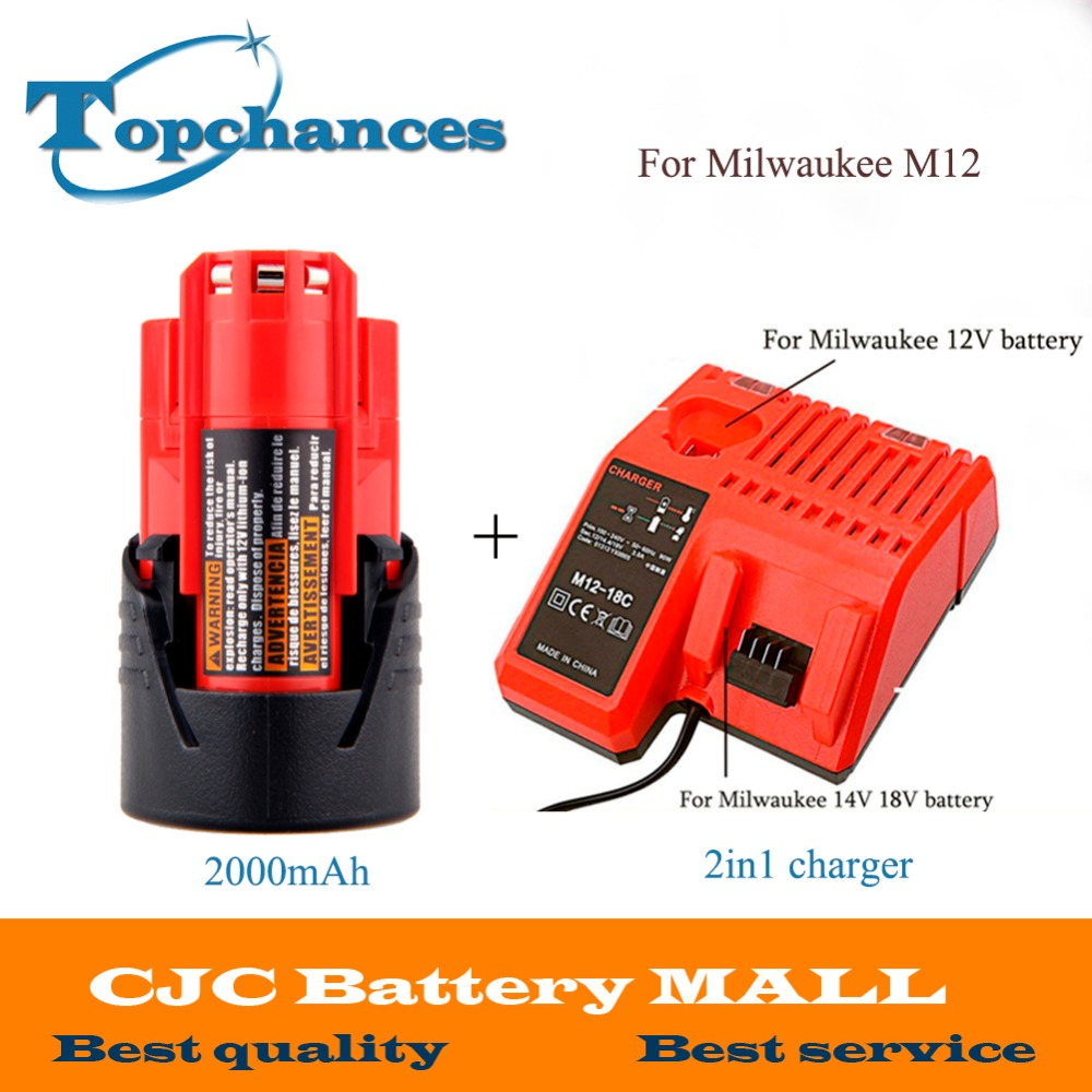 High Quality 12V 2000mAh Li-Ion Replacement Power Tool Battery for Milwaukee M12 C12 BX C12 B 48-11-2402 48-11-2401+2in1 ChargerHigh Quality 12V 2000mAh Li-Ion Replacement Power Tool Battery for Milwaukee M12 C12 BX C12 B 48-11-2402 48-11-2401+2in1 Charger