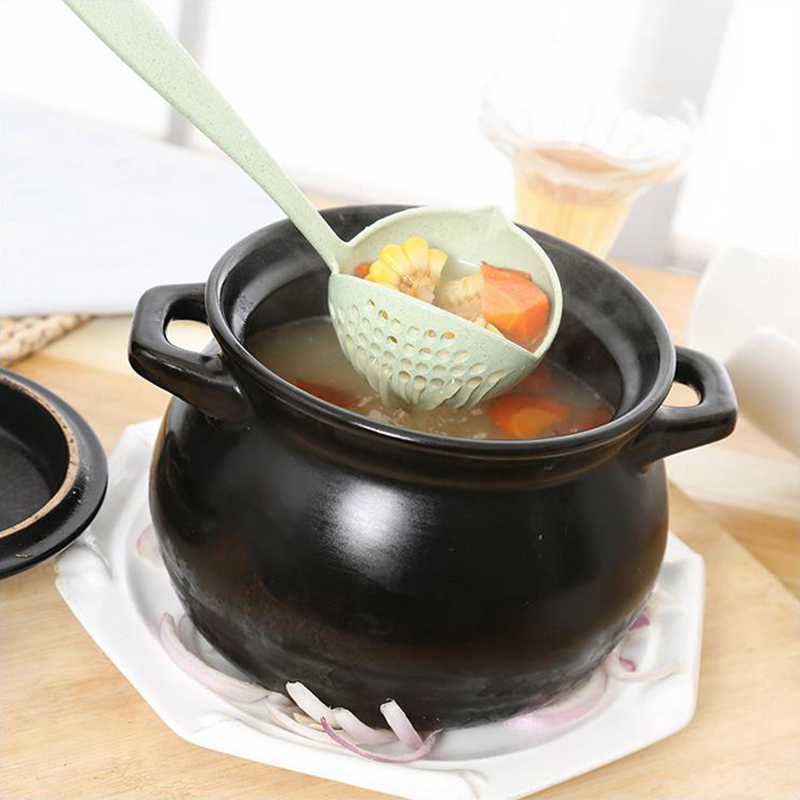 New arrived Eco Friendly 2 in 1 Soup Spoon Long Handle Creative Porridge Spoons with Filter