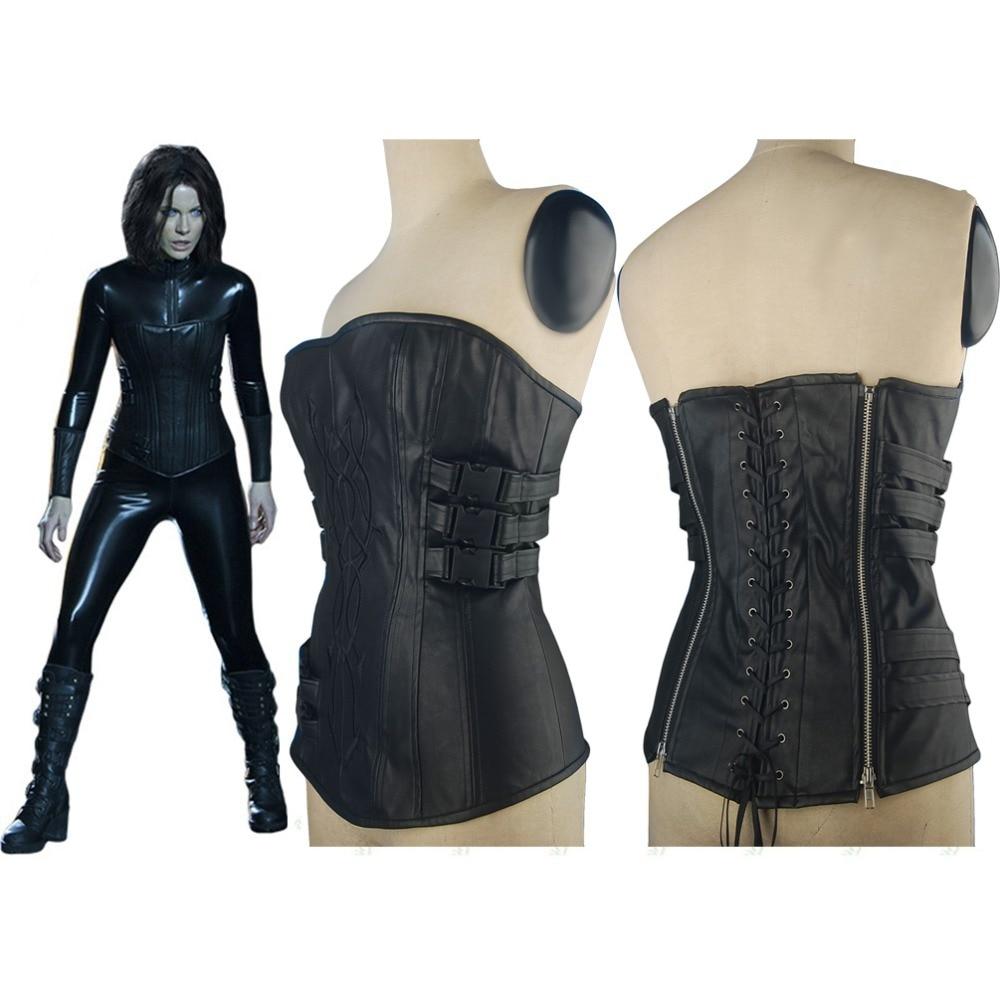 Underworld 4 Awakening Selene Black Leather Vest Corset Halloween Cosplay Costume font b Women b font