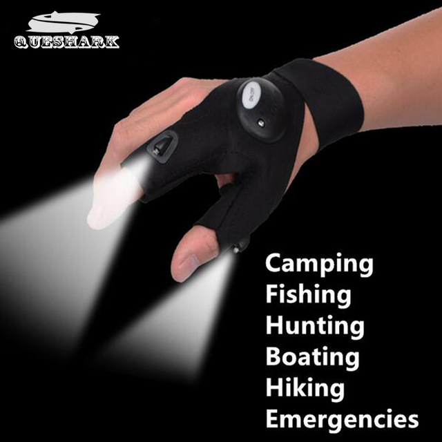 Outdoor Fishing Magic Strap Fingerless Glove LED Flashlight Torch Cover Camping Hiking Lights Multipurpose