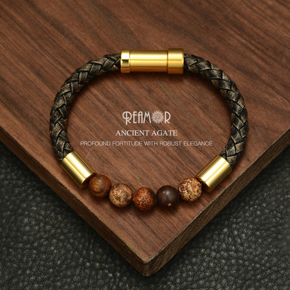 REAMOR 2019 Men Black Braided Leather Bracelets Natural Stone Bracelet Gold 316L Stainless steel Embedded Clasp Bangle Jewelry
