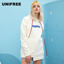 UNIFREE2019 Autumn new arrival irregular sweater women loose lazy wind hooded long coat korean streetwear women hoodie UH181A117(China)