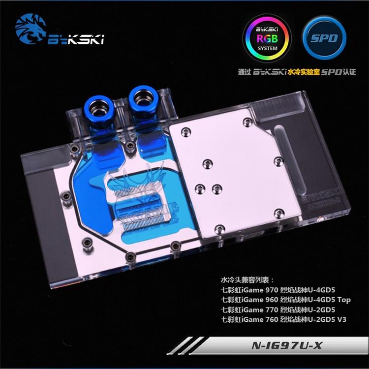 Bykski N-IG97U-X for Colorful IGAME GTX970U GTX770 GTX760 VGA Water Cooling Block цена