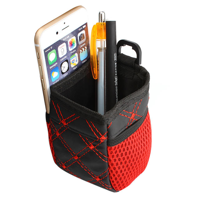 Universal Red Grid Net Car Outlet Storage Bag Phone Holder Pocket Organizer Car Styling Auto Assessories