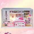 G006 DIY casa de vidro sala de Móveis Casa de Bonecas Em Miniatura Diy 3D De Madeira Miniaturas quarto com Tampa Protetora Contra Poeira luzes LED