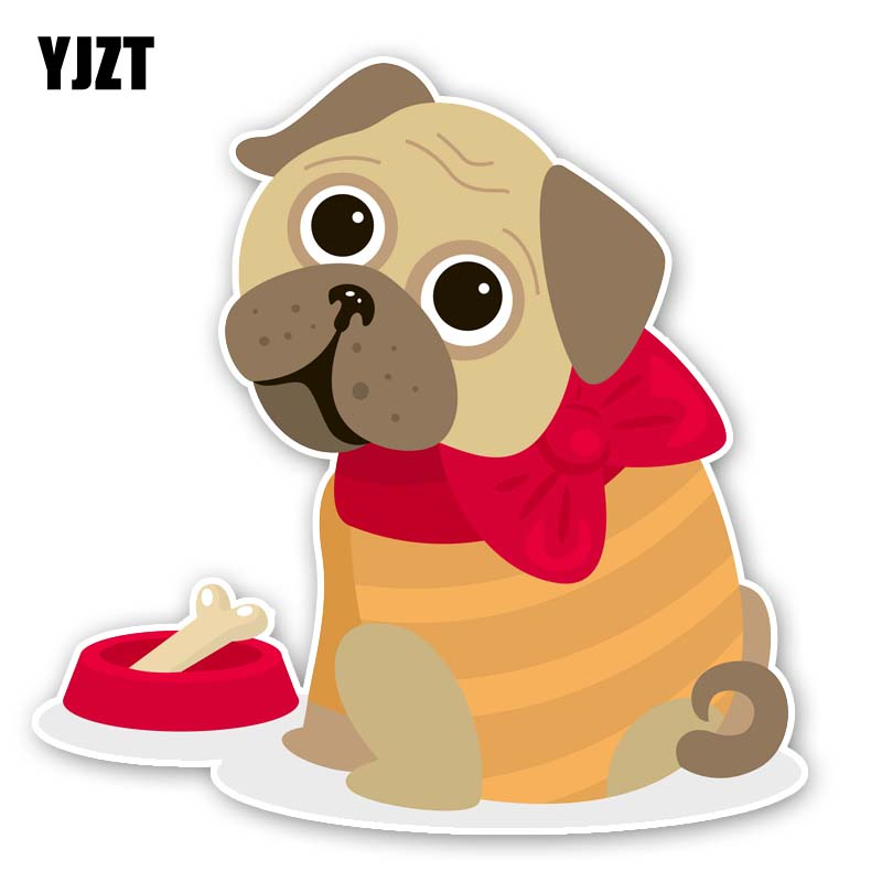 YJZT 15.5CM*15.7CM A Puppy With A Bow Tie Fashion PVC Sticker Car Decal 12-300297