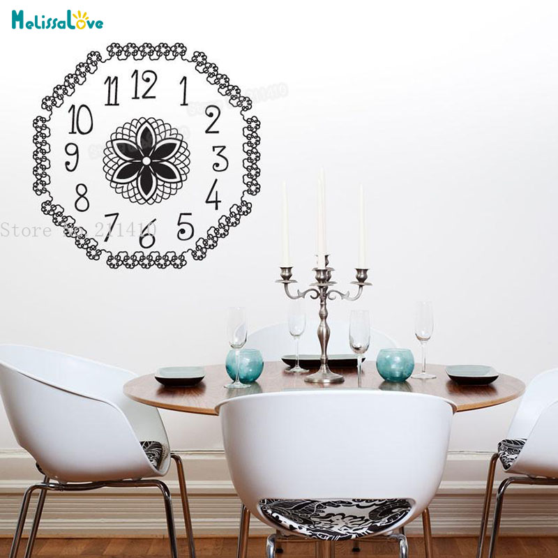 Beautiful wall decals floral clock wallpaper sticker home - Beautiful wall stickers for living room ...