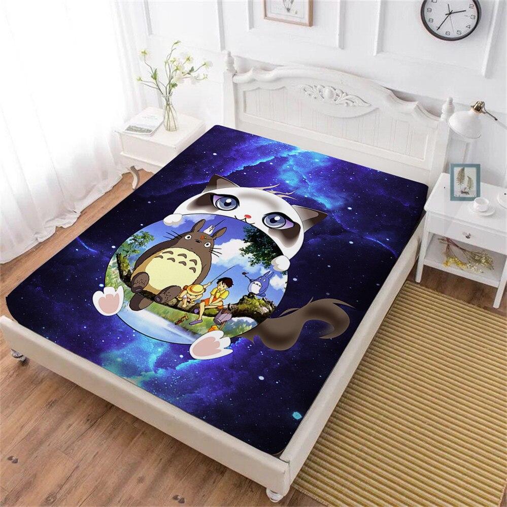 3d Cartoon Laken Totoro Galaxy Hoeslaken Kids Natuurlijke Landschap Print Beddengoed Lakens Koning Koningin Matrashoes Elastische Band Verlichten Van Reuma En Verkoudheid