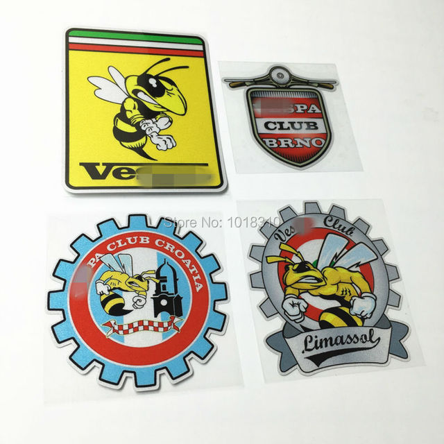 4styles car styling motor racing car sticker decals for vespa club bee piaggio car motorcycle bike
