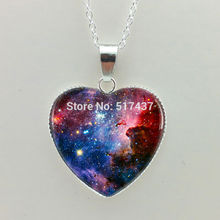 Silver heart shaped necklaces Geek Pendant Nebula Pendant Galaxy Necklace, Space Pendant glass cabochon jewelry Galaxy Jewelry