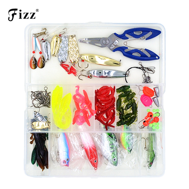 100 pcs/Box Lure Fishing Accessories Tackle Box with Complete Fishing Lure Fishhooks Wire Connector Beads Ring Fishing Tools Set