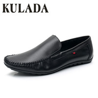 KULADA 2019 Men's Leather Shoes Summer Shoes Soft Fashion Walking Comfortable Men Moccasins Casual Boat Shoes