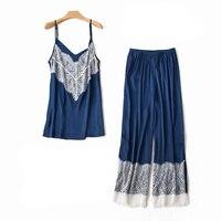 Sexy 2PCS Women Spaghetti Strap+Pant Home Wear Sleepwear Set Satin Lace Trim Pajamas Suit Rayon Sleeveless Nightwear Pyjama
