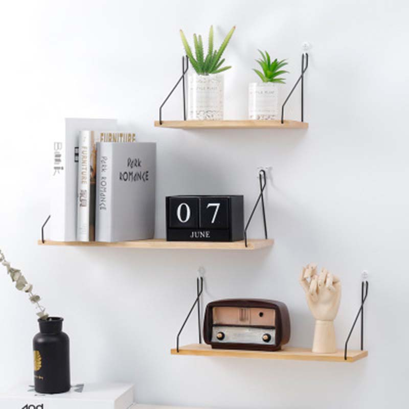 Storage-Rack Decorative Wall-Shelf Iron Wooden Organization Kitchen/kid DIY