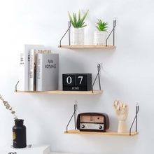 Iron Wooden Decorative Wall Shelf Storage Rack Organization for Kitchen/ Kid Room DIY Wall Decoration Holder Home Decor(China)