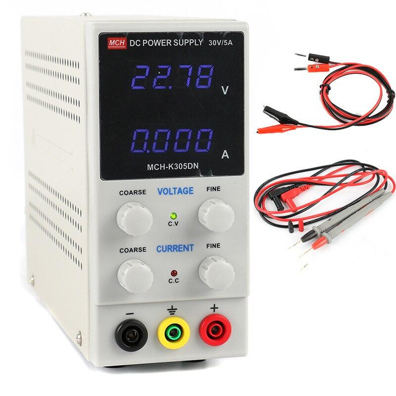 MCH K305DN мини лаборатория цифровой регулируется DC коммутации Питание 30 В 5A 0,01 В 0.001A + зонд ЕС/AU/США штекер