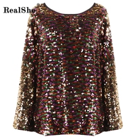 RealShe Women Sequins T Shirt Women Casual O Neck Long Sleeve Loose Tops Shirt 2018 New