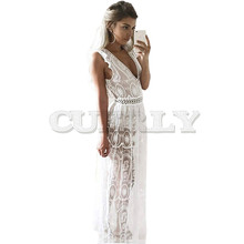 Sexy Hollow Out White Lace Dress Women Spring High Waist Sleeveless Backless Elegant Christmas Maxi Long CUERLY